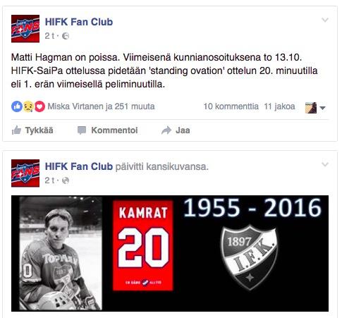 HIFK:n faniyhdistyksen Facebook-sivu