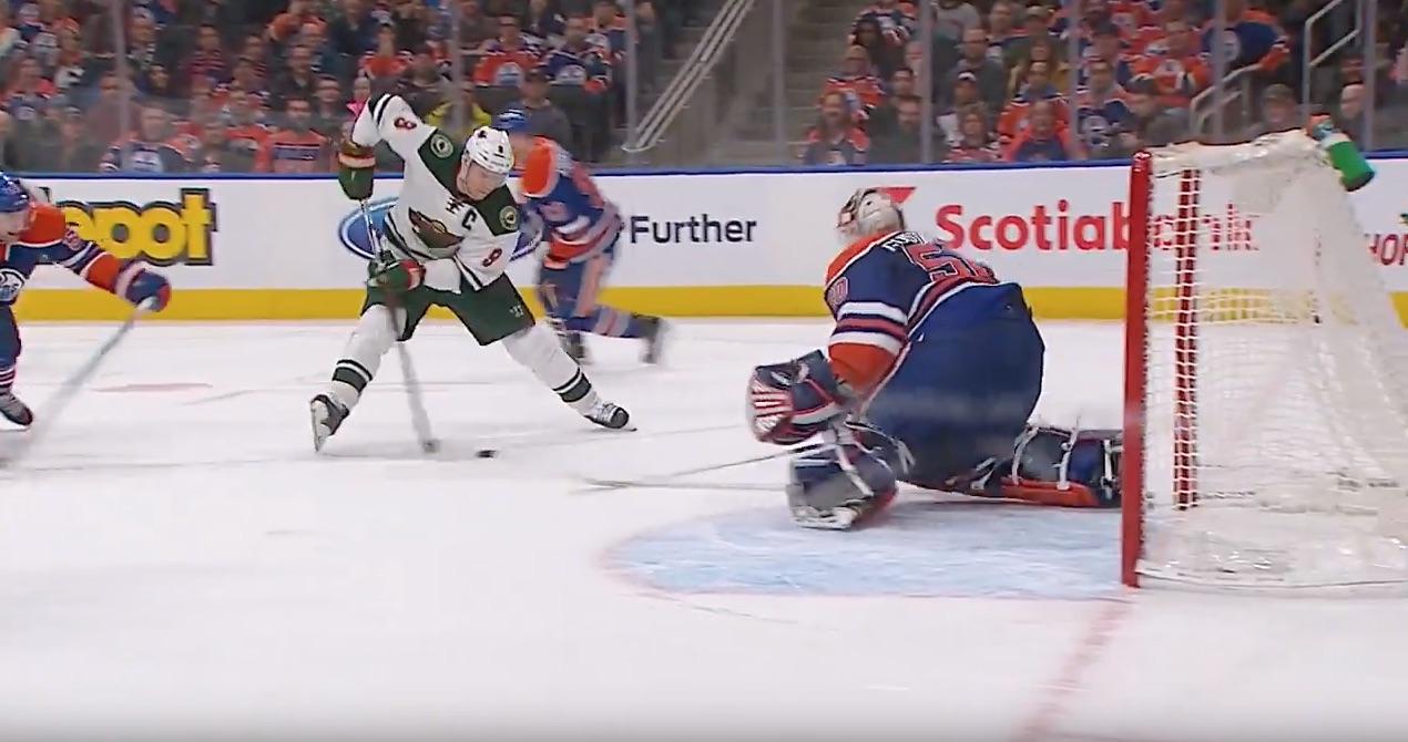 Mikko Koivu iskee voittomaalin Oilersia vastaan