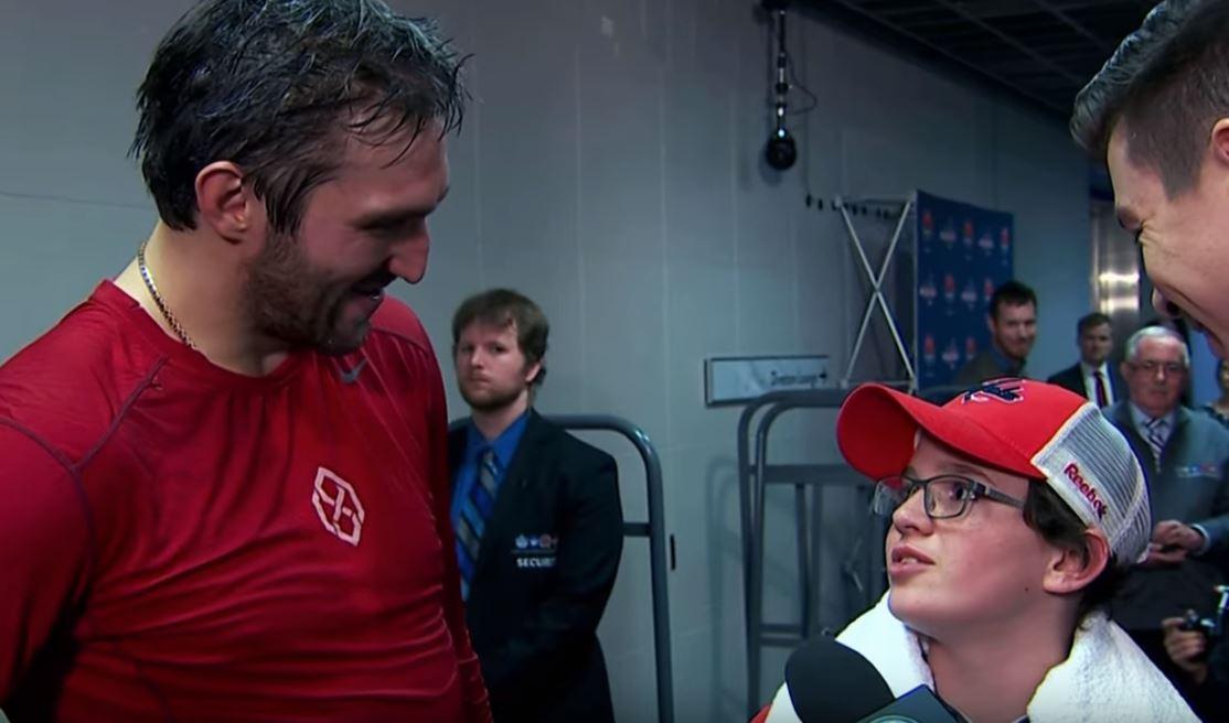 Video: Alex Ovechkin hoiti syövän voittaneelle fanille ikimuistoisen päivän