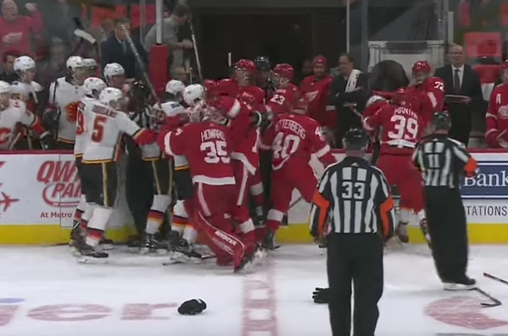 Video: Joukkotappelu keskeytti Detroitin ja Calgaryn ottelun | Laitataklaus.com