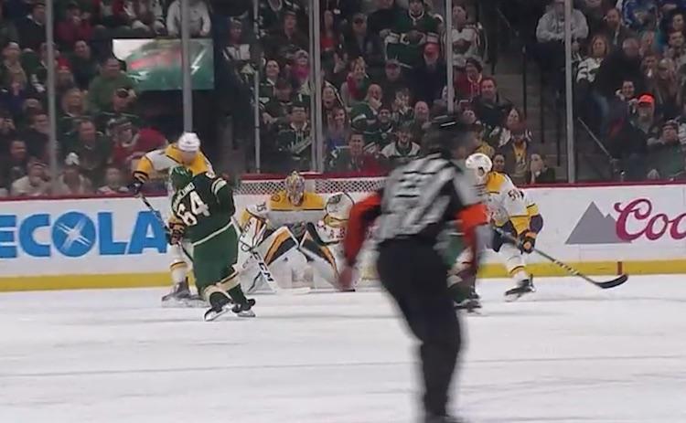 Minnesota Wildin Mikael Granlund iski Nashville Predatorsia vastaan hattutempun.