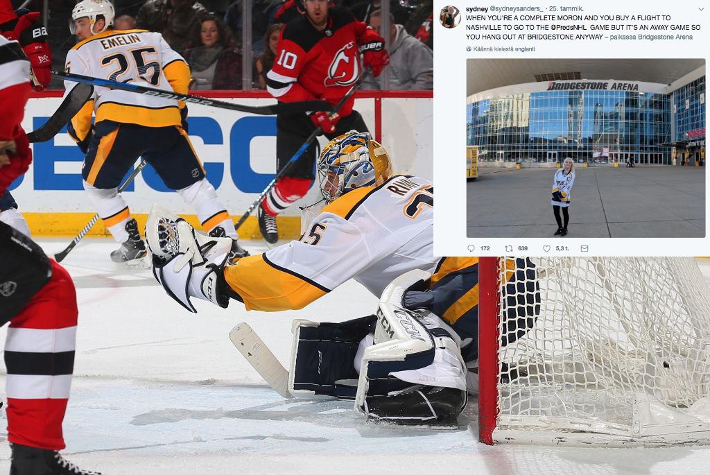 Pekka Rinne koppaili kiekkoja New Jerseyssä samaan aikaan, kun Nashville Predators-fani seisoi tyhjän hallin edessä.