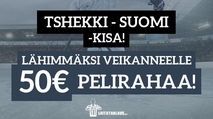 Tshekki - Suomi -KISA! - lähimmäksi veikanneelle 50€ pelirahaa
