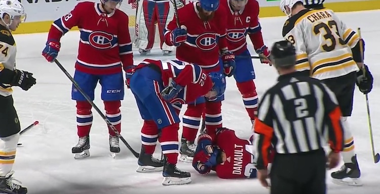 Zdeno Charan hurja lyöntilaukaus osui suoraan Montreal Canadiensin Phillip Danaultia päähän.