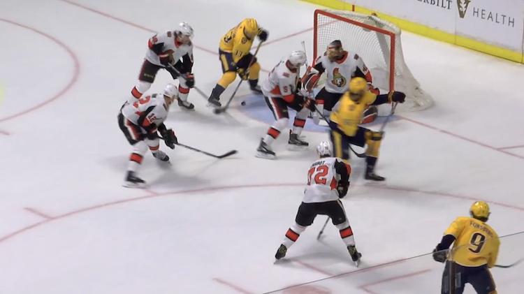Nashville Predators iski Ottawa Senatorsia vastaan erikoisen ja hienon maalin.
