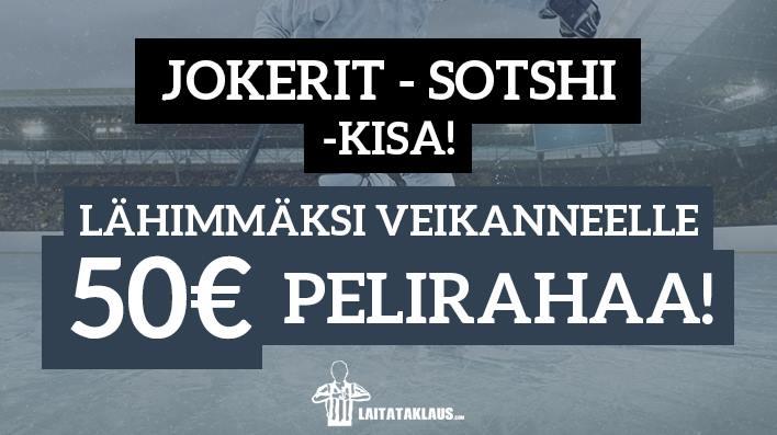 Jokerit - Sotshi -KISA! Lähimmäksi veikanneelle 50€ pelirahaa