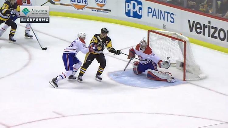 Pittsburgh Penguinsin Sidney Crosbylta nähtiin kertakaikkisen upea tasoitusmaali.