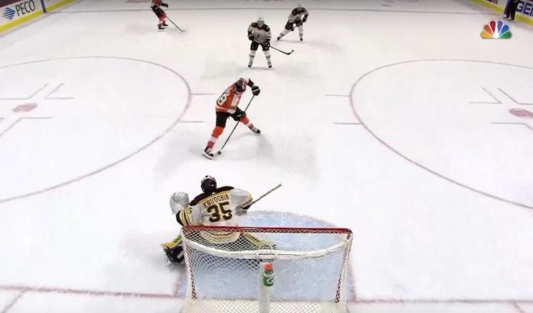 Claude Giroux teki eilen illalla upean maalin, kun Flyers kohtasi Boston Bruinsin.