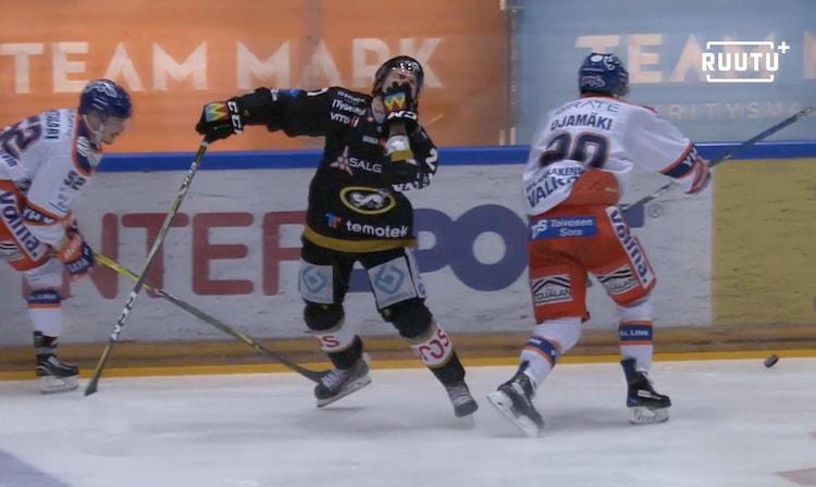 Otso Rantakari sai pelikieltoa Liigan ensimmäisessä finaalissa nähdyssä päähän kohdistuneesta taklauksesta.