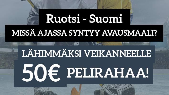 Ruotsi - Suomi -KISA! Lähimmäksi veikanneelle 50€ pelirahaa