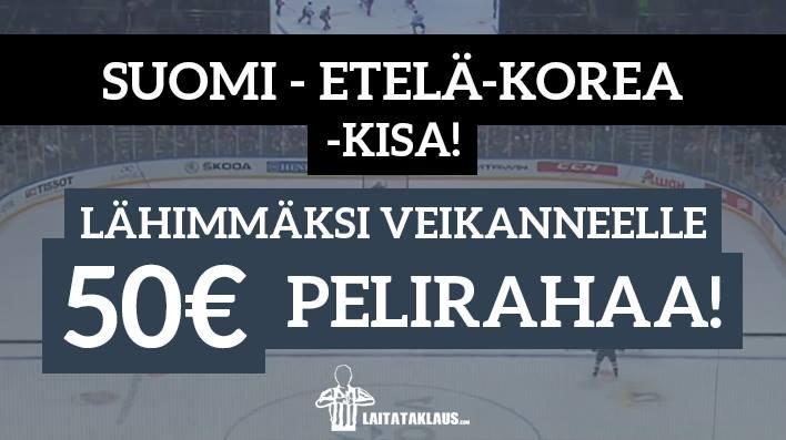 Suomi - Etelä-Korea -KISA! Lähimmäksi veikanneelle 50€ pelirahaa