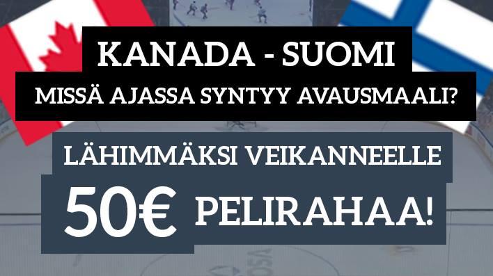Kanada - Suomi -KISA! Lähimmäksi veikanneelle 50€ pelirahaa