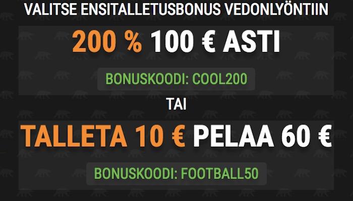 Coolbet tarjoaa huikean ensitalletusbonuksen - 200 % 100 € asti!