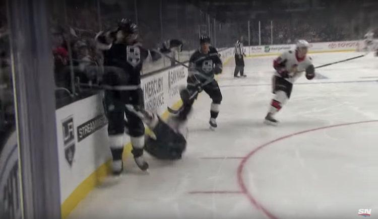 VIDEO: Colin White tippui jäähän kuin märkä rätti - Jake Muzzinilta käsittämätön taklaus